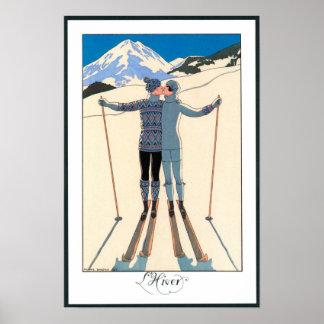 Vintageart déco, älskare i snö av George Barbier Poster
