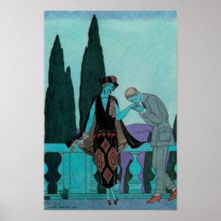 Vintageart déco, älskare på Lavillad'Este Poster