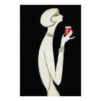 Vintageart déco~ Villemot för Campari 1977 Poster
