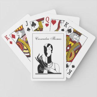 Vintageart décodam med pärlor svart Transp Casinokort
