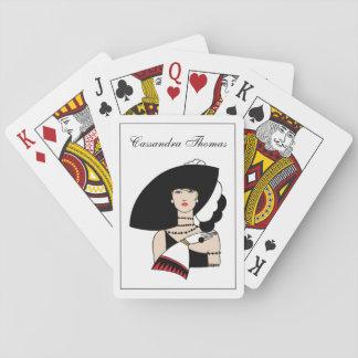 Vintageart décokvinna som ha på sig spel kort