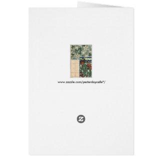 Vintageart nouveau, Columbine Aquilegia blommor Hälsningskort