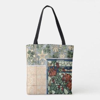Vintageart nouveau, Columbine Aquilegia blommor Tygkasse