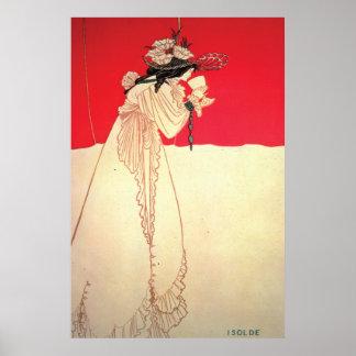 Vintageart nouveau~ Isolde vid Beardsley Poster
