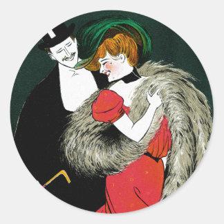 Vintageart nouveau, italienmode kopplar ihop runt klistermärke