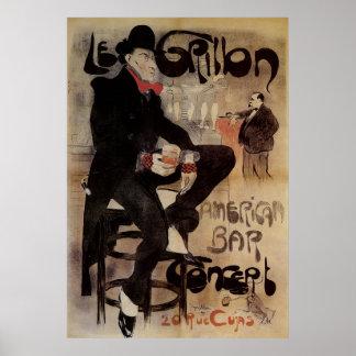 Vintageart nouveau Le Grillon, man som dricker öl Poster