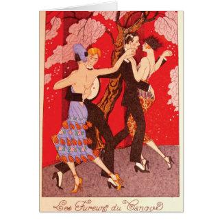 Vintageart nouveau~ raseriet av Tango Hälsningskort
