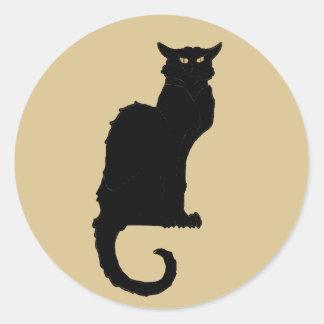 Vintageart nouveau, spöklik Halloween svart katt Runda Klistermärken