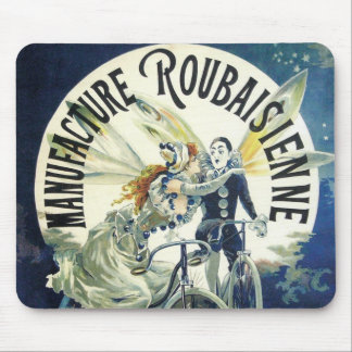 Vintageart nouveauälvor, Pierrot cykelmåne Mus Matta