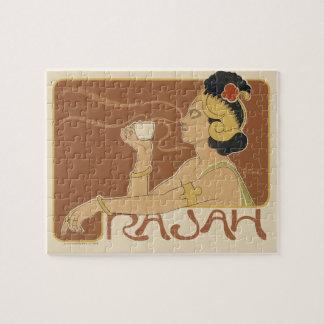 Vintageart nouveauCafe Rajah, dam som dricker Tea Pussel