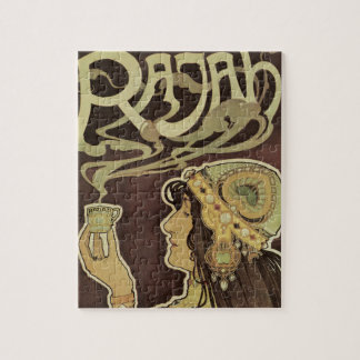 Vintageart nouveauCafe Rajah, kvinna som dricker Jigsaw Puzzle
