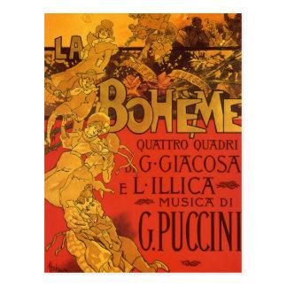 Vintageart nouveaumusik, LaBoheme opera, 1896 Vykort