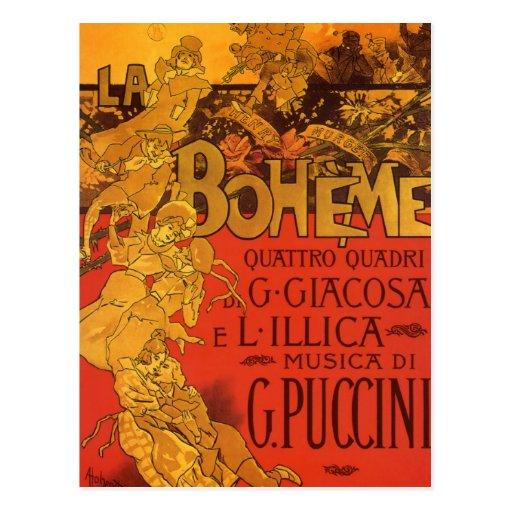 Vintageart nouveaumusik; LaBoheme opera, 1896 Vykort