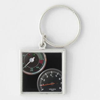 Vintageautomatiskn Fyrkantig Silverfärgad Nyckelring