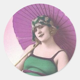Vintagebadningskönhet - klistermärkear runt klistermärke