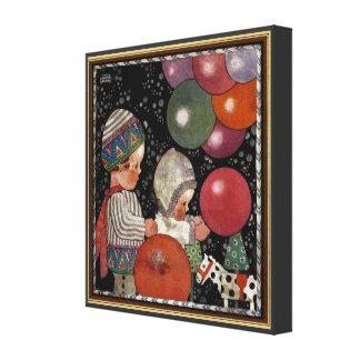 Vintagebarn födelsedagsfest, ballonger och canvastryck