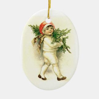 Vintagebarn, keramisk julprydnad för träd julgransprydnad keramik