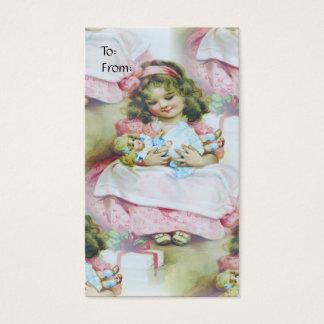 Vintagebarn och docka - gåvamärkre visitkort