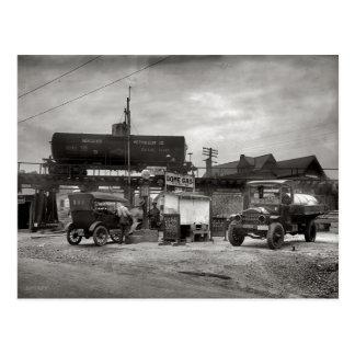 Vintagebensinstation, bilentusiast vykort