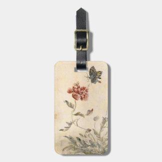 Vintagebi-, fjärils- och vallmovattenfärg bagagebricka
