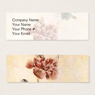 Vintagebi-, fjärils- och vallmovattenfärg litet visitkort