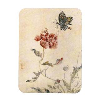 Vintagebi-, fjärils- och vallmovattenfärg magnet