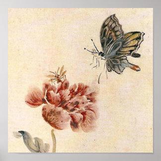 Vintagebi-, fjärils- och vallmovattenfärg poster