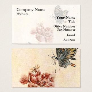 Vintagebi-, fjärils- och vallmovattenfärg visitkort