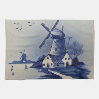 Vintageblått och vit Delft Kökshandduk