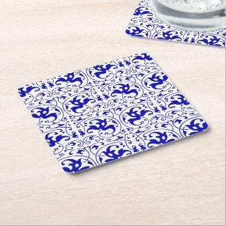 Vintageblått och vit virvlar runt underlägg papper kvadrat