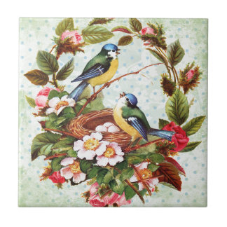 Vintageblåttfåglar och blommor liten kakelplatta