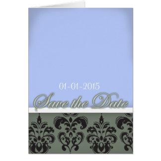Vintageblåttgrå färg sparar daterakortet hälsningskort