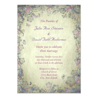Vintageblomma- & fjärils bröllop 12,7 x 17,8 cm inbjudningskort