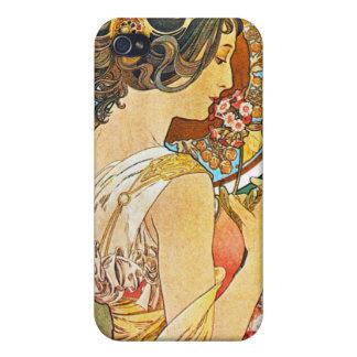 Vintageblommigt Mucha iPhone 4 Hud