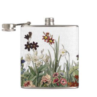 Vintagebotanisk trädgård blommar samlingsflaskan fickplunta