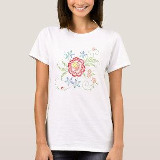 VintageBrodera-Look blom- kvinna skjorta Tshirts