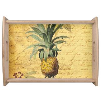 VintageCalligraphy och Retro ananas Serveringsbricka