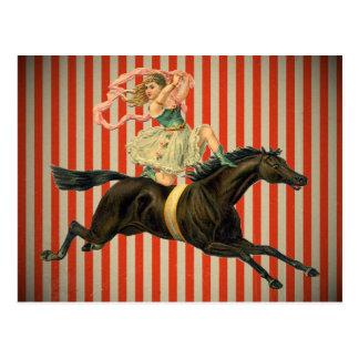 vintagecirkusakrobat som rider en hästvykort vykort