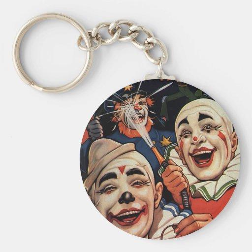 Vintagecirkusclowner, enfaldigt roligt humoristisk nyckelring