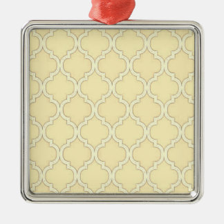 Vintagecitron - gul marockansk spaljédesign silverfärgad fyrkantigt julgransprydnad