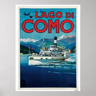 VintageComo italienare för sjön reser annonsen Poster