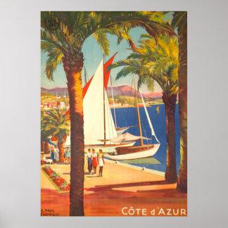 VintageCote d'Azur fransk reser Poster