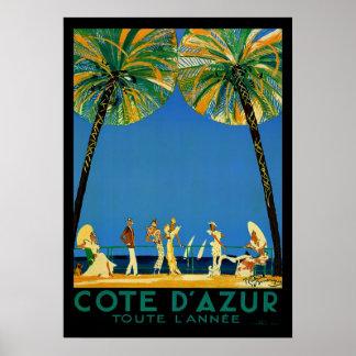 VintageCote d'Azur Toute Lannee fransk reser Poster