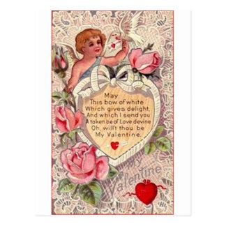 VintageCupid med duva- och kärlekbrev Vykort