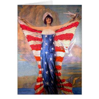 Vintagedam av den patriotiska amerikanska flaggan hälsningskort