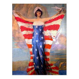 Vintagedam av den patriotiska amerikanska flaggan vykort