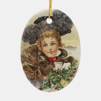 Vintagedam med järnek jul dekorationer