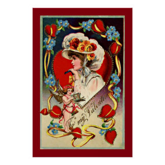 Vintagedamen min valentin värderar affischpapper