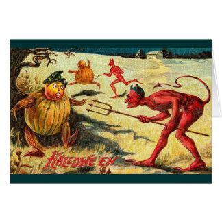 Vintagedjävular som jagar elakt troll, Halloween Hälsningskort