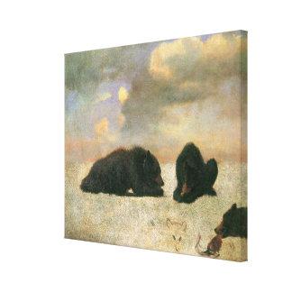 Vintagedjur, Grizzlybjörnar av Albert Bierstadt Canvastryck